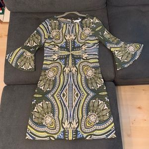 Olive Green/Taupe paisley print dress